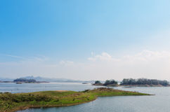 Island and lake viewpoint. Island viewpoint in public park that surrounding the lake at Kanchanaburi province Stock Photography