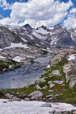 Island Lake in the Wind River Range, Rocky Mountains, Wyoming, views from backpacking hiking trail to Titcomb Basin from Elkhart P. Ark Trailhead going past stock image