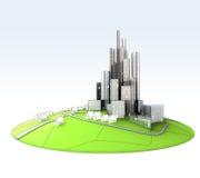 Island landscape of sustainable city development stock photography