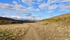 Island, Laugavegur-Wanderung, Schritt für Schritt stockfotos