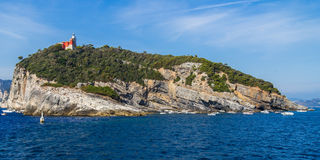 Island with lighthouse in Italy. Island with lighthouse near La Spezia, Italy stock photo