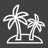Island line icon, travel and tourism, palm trees. Vector graphics, a linear pattern on a black background, eps 10 Stock Images