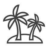 Island line icon, travel and tourism, palm trees. Vector graphics, a linear pattern on a white background, eps 10 Stock Photo