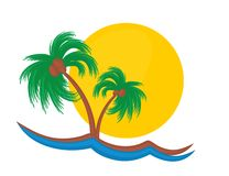 Island Logo with a decline. Royalty Free Stock Image