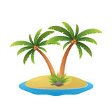Island logo - tropical palm trees with sea waves vector illustration white background. Paradise island logo - tropical palm trees on island with sea waves vector stock illustration