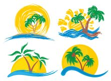 Island Logos with a palm tree.