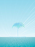 Island of a lonely palm tree background Stock Image
