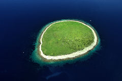 Island. Of Lutrošnjak in Adriatic sea, Aerial shoot Royalty Free Stock Photography