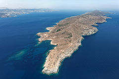 Island of Makronisos, Greece, aerial view Royalty Free Stock Image