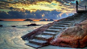 Ascending staircase at dawn royalty free stock photography