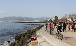 Palma de mallorca seaside promenade during winter. The island of mallorca in the mediterranean is one of the main touristic destinations for europeans from april Stock Image