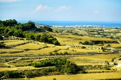 The island of Malta. Panorama view fields around Mdina, Malta Stock Photography