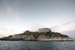 Island of Mamula fortress, the entrance to the Boka Kotorska bay, Montenegro Royalty Free Stock Photography