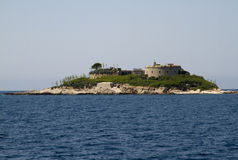 Island of Mamula, Montenegro. Mamula (or Lastavica) is an islet in the Adriatic Sea, in southwestern Montenegrin municipality of Herceg Novi. There is a fort on Stock Photo