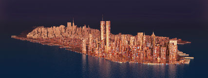 Island Manhattan in the 1990s. Computer generated 3D illustration with the island Manhattan in the 1990s Royalty Free Stock Photo