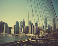The island of Manhattan. View of the island of Manhattan from the Brooklyn Bridge Royalty Free Stock Images