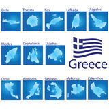 Island map on Greece vector illustration Royalty Free Stock Photos
