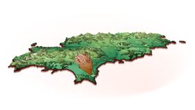 Island Map of Ibiza with drawing Stock Image