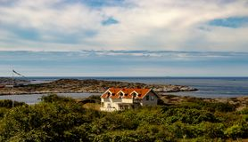 Marstand white house in bohuslan. The island of marstrand.At the west coast of sweden stock photo