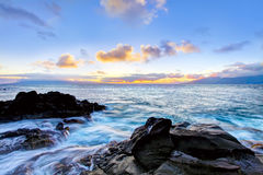 Island Maui cliff coast line with ocean. Hawaii. Royalty Free Stock Image