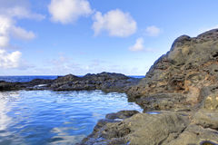 Island Maui coast lava pool with ocean. Royalty Free Stock Images