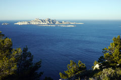 Island in mediterranean. Lonely island in the mediterranean sea off marseille Royalty Free Stock Images