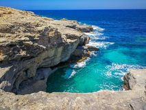 Gozo Island Meets Mediterranean Sea royalty free stock photos
