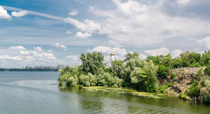 The island in the middle of the Dnieper River. stock images