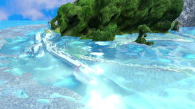 Island in the middle of the water with Sunbeam stock footage