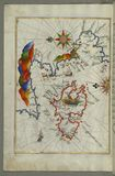 The Island of Midilli (Midillü, Mitylene, Lesvos) in the northeastern Aegean Sea, from Book on Navigation, Walters Art  Stock Images