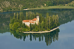 Island and monastery Visovac Royalty Free Stock Photos
