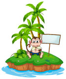 An island with a monkey and a signboard Stock Photo
