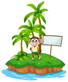 An island with a monkey and a signboard Royalty Free Stock Images