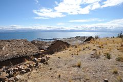 Island of the moon is located on lake Titicaca Royalty Free Stock Photo