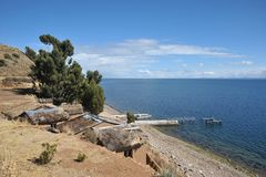 Island of the moon is located on lake Titicaca. Royalty Free Stock Photography