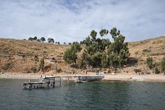 Island  of the moon is located on lake Titicaca. Stock Photo