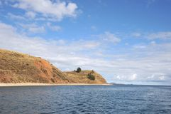 Island  of the moon is located on lake Titicaca. Royalty Free Stock Images