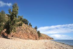 Island  of the moon is located on lake Titicaca. Royalty Free Stock Image