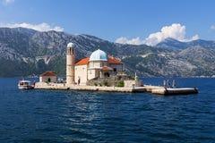 Island Mother of God on the Rocks, Montenegro Stock Image