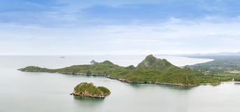 Island and  mountain in the middle of the sea in Thailand. Stock Photo
