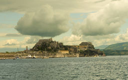 An Island with mountain and old fort Royalty Free Stock Photo