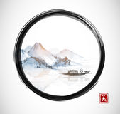 Island with mountains and fishing boat in black enso zen circle.. Traditional oriental ink painting sumi-e, u-sin, go-hua. Contains hieroglyph - beauty Royalty Free Stock Photo