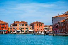 Island Murano in Venice Italy lagoon with Royalty Free Stock Photos