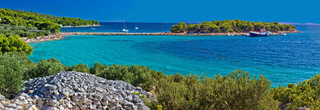 Island of Murter turquoise beach panoramic Stock Images