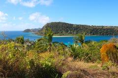 View of tropical islands with palms in Fiji. The island of Naukacuvu and in the background the island of Nanuya Balavu, Yasawa, Fiji stock images