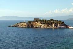 Island near Kusadasi. Sea port, Turkey Stock Images