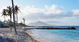 The island of Nevis. With the Neve Peak in the Caribbean Stock Photos