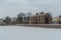 Island New Holland with river Moyka covered by snow and ice, St. Petersburg. Russia royalty free stock photos