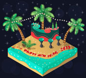 Island 2017. New Year 2017 on a tropical island. Bar,palm trees, beach and sea. 3D isometric view. Vector illustration Royalty Free Stock Photo