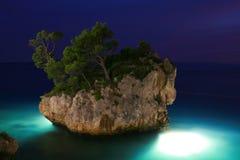 Island at Night. Brela, Croatia Stock Image